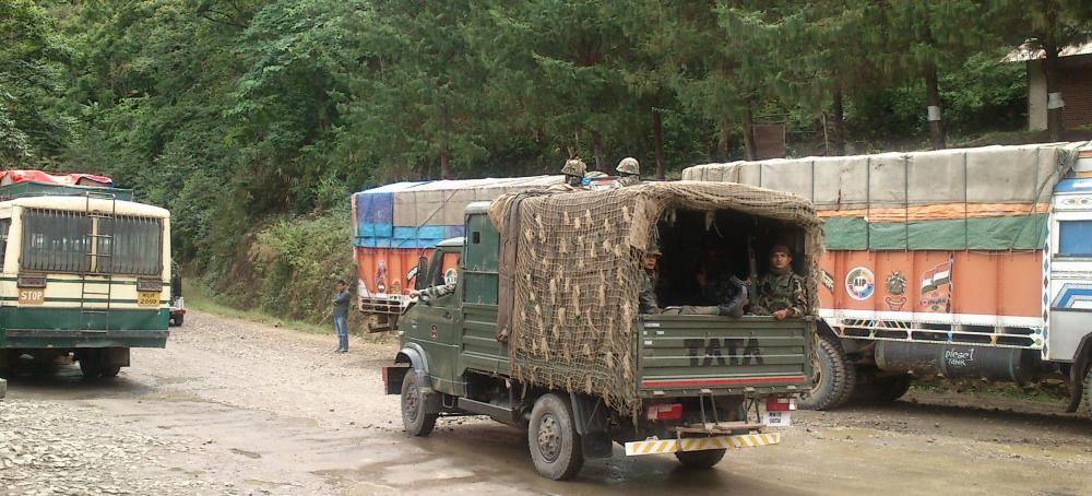 Army and civilian trucks in Nagaland