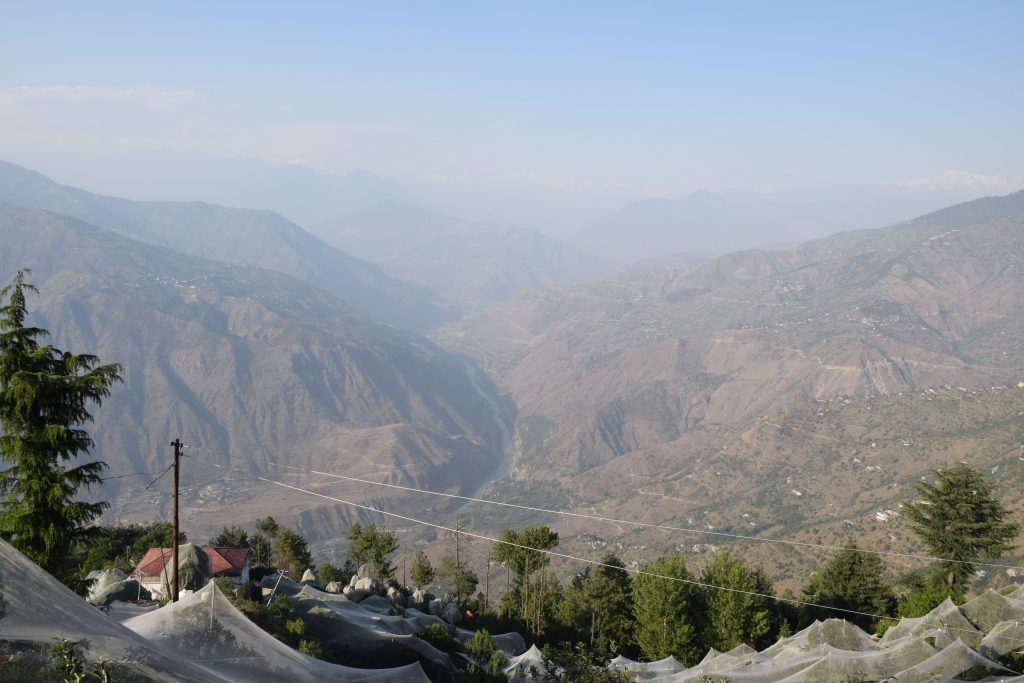 Panoramic view of Satluj and Kinnaur and Shimla districts from Thanedhar